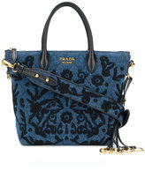 Prada Embroidered denim handbag