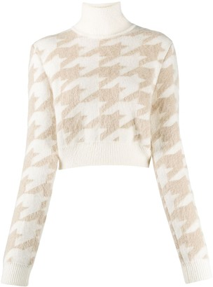 Nina Ricci Houndstooth Knit Cropped Jumper