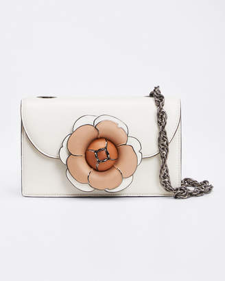 Oscar de la Renta Tro Flower Leather Shoulder Bag