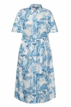 Ulla Popken Women's Plus Size Jungle Safari Print Shirt Dress White Multi 24/26 747273 20-50+