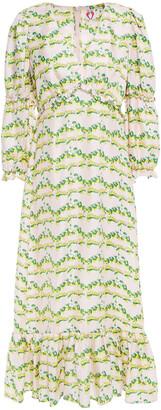 Shrimps Rosemary Leopard-jacquard Silk Midi Dress