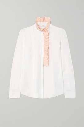 Chloé Ruffle-trimmed Silk-georgette Blouse - Ivory