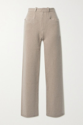 Deveaux Pearl Wool And Cashmere-blend Straight-leg Pants - Taupe
