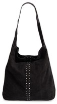 Topshop Sienna Studded Leather Hobo - Black