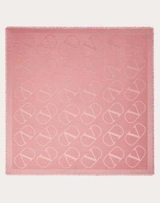 Valentino Garavani Vlogo Silk And Wool Shawl 140x140 Cm Women Pink Silk 65% OneSize