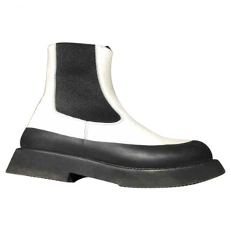 Celine Country Boots White Leather Ankle boots