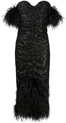NERVI Luna feather-trimmed sequin dress