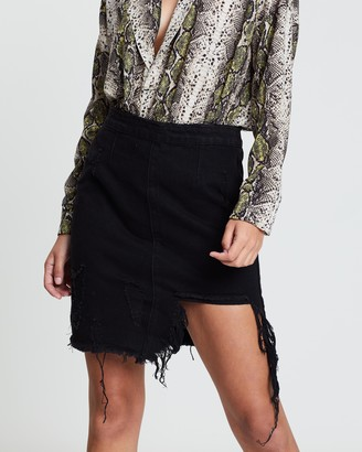 Missguided Busted Ripped Distressed Denim Skirt
