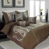 Lavish Home Galina Brown 7-Piece Queen Comforter Set
