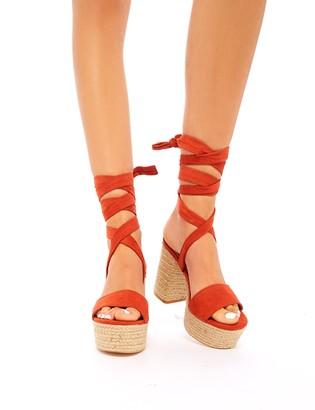 Public Desire Layla Rust Faux Suede Espadrille Lace Up Block Heels