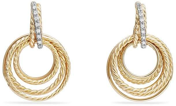 David Yurman Crossover Drop Earrings with Diamonds in 18K Gold