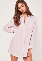 Curve Hem Stripe Nightshirt Pink, Pink