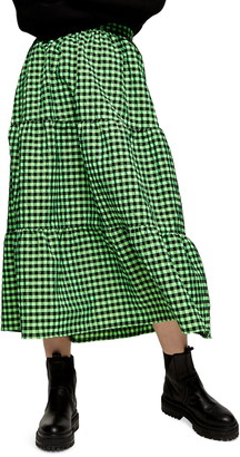 Topshop Gingham Tiered Ruffle Skirt
