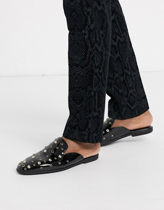 Asos DESIGN backless mule loafers in faux leather with gold stud detail