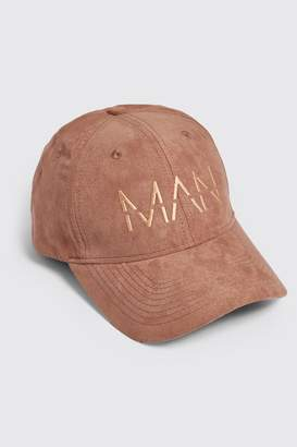 boohoo Faux Suede 6 Panel Cap With MAN Dash