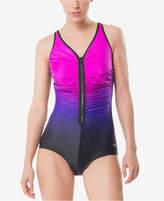 Speedo Zip-Front Ombre One-Piece Swimsuit Women's Swimsuit