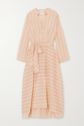 Forte Forte Belted Striped Satin Midi Dress - Ecru