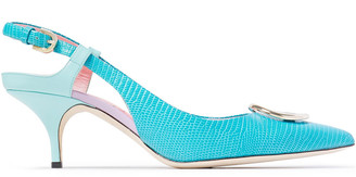 Emilio Pucci Logo-embellished Lizard-effect Leather Slingback Pumps