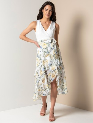Forever New Joanna Petite Frill Two-in-One Maxi Dress - Provincial Yellow Floral - 10