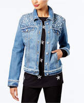 INC International Concepts Petite Embellished Denim Jacket, Created for Macy's