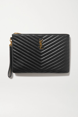Saint Laurent Monogram Quilted Leather Pouch - Black