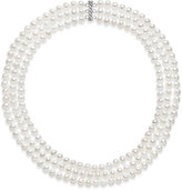 Belle de Mer Cultured Freshwater Pearl Three Layer Necklace (7-8mm)