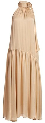 Zimmermann Super 8 Swing Silk Tieneck Maxi Dress