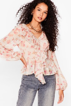 Nasty Gal Womens Plant Relate Floral Ruffle Blouse - Beige - 6