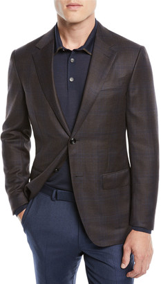 Ermenegildo Zegna Men's Plaid Wool Jacket, Blue/Brown
