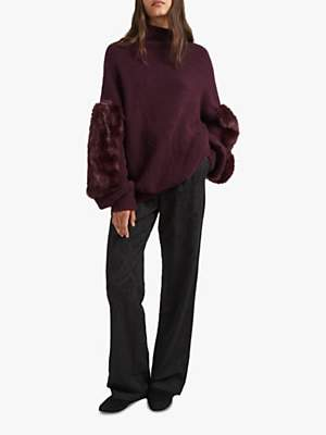 French Connection Normie High Neck Jumper, Black Grape