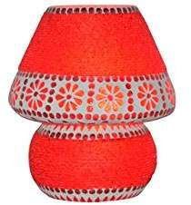 Camilla And Marc Lamps and Light, Glass and Beads, New Mosaic Table Lamp Shade, Handcrafted Modern Bedside Lamp in Glass, 19 x 19 x 22 cm, Red