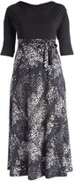 Glam Black & White Abstract Tie-Waist Maxi Dress - Plus