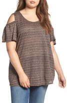 Lucky Brand Plus Size Women's Stripe Cold Shoulder Top