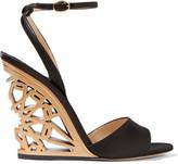 Paul Andrew Kismet Cutout Satin Wedge Sandals - Black