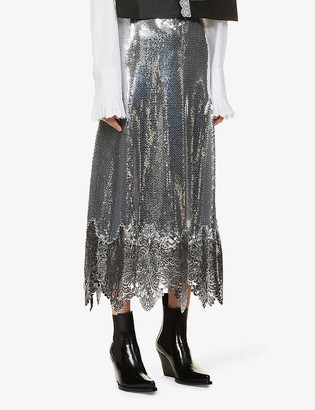 Paco Rabanne Lace-trimmed sequinned midi skirt
