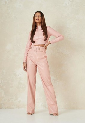 Missguided Pink Co Ord Faux Leather Tailored Belted Wide Leg Pants