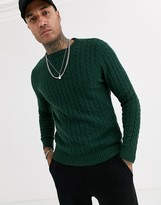 Asos Design ASOS DESIGN lambswool cable knit jumper in bottle green