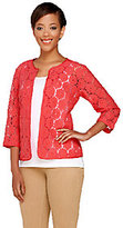 Joan Rivers Classics Collection As Is Joan Rivers Open Front Lace Jacket with 3/4 Sleeve