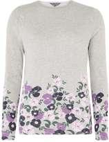 Dorothy Perkins **Tall Grey Floral Print Hem Jumper