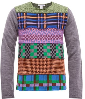 Comme des Garcons Patchwork Intarsia Wool Blend Sweater - Mens - Grey Multi