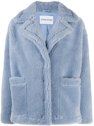 Stand Oversized Shearling Jacket