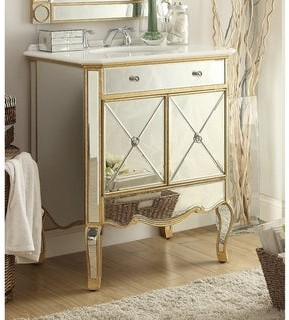 "Chans Furniture 30"" Benton Collection Adelisa Gold Mirrored Bathroom Vanity"