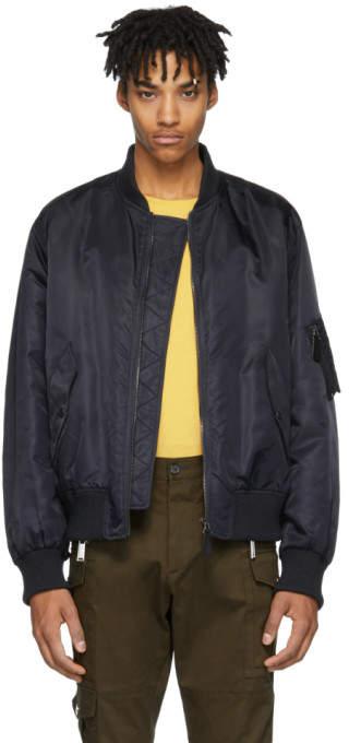 Yves Salomon Navy Fur-Lined Bomber Jacket