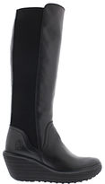 Fly London Yeve Wedge Heeled Knee High Boots, Black