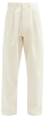 E. Tautz Reverse-pleated Straight-leg Cotton Chinos - Cream