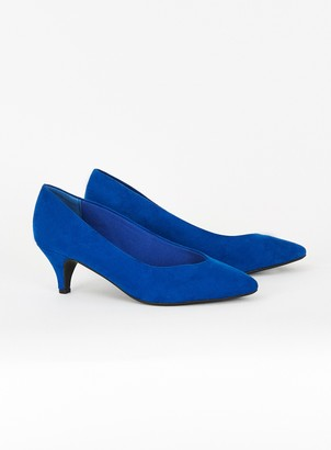 Evans EXTRA WIDE FIT Blue Kitten Heel Court Shoes