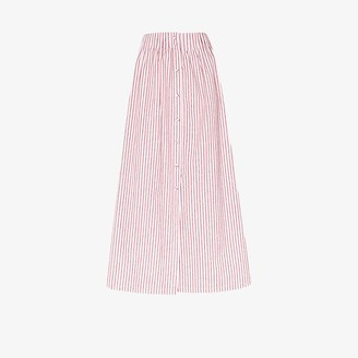 By Any Other Name Striped Cotton Midi Skirt