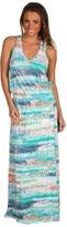 C&C California Zigzag Printed Halter V-Neck Maxi Dress (Aloe Multi) - Apparel