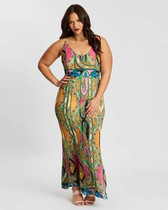Missguided Curve Scarf Print Strappy Maxi Dress