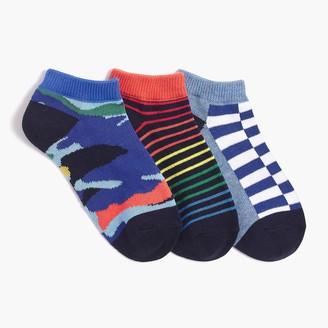 J.Crew Boys' patterned ankle socks three-pack